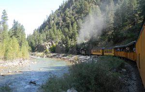 Train ride along the river
